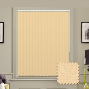 Cream Made to measure vertical blinds in Guardian Cream plain FR / Antibacterial fabric